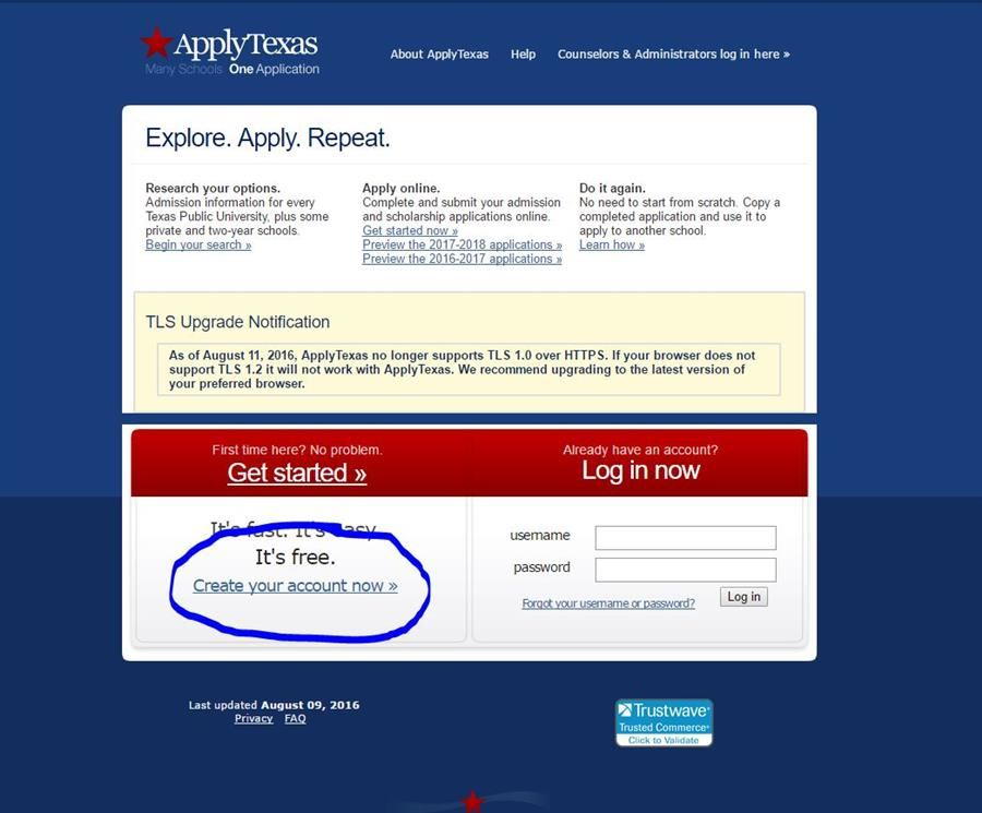 Photo of Apply Texas webpage