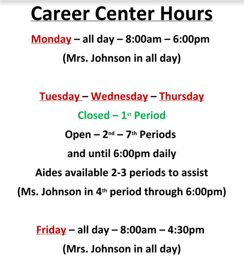 New College & Career Center hours