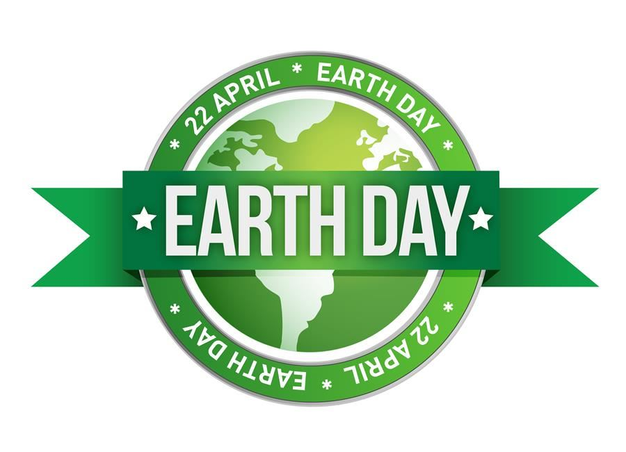 Earth Day logo, green and white colors