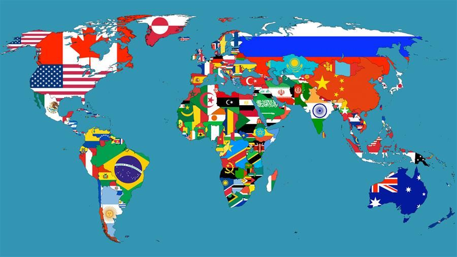 world map illustrating political boundaries.