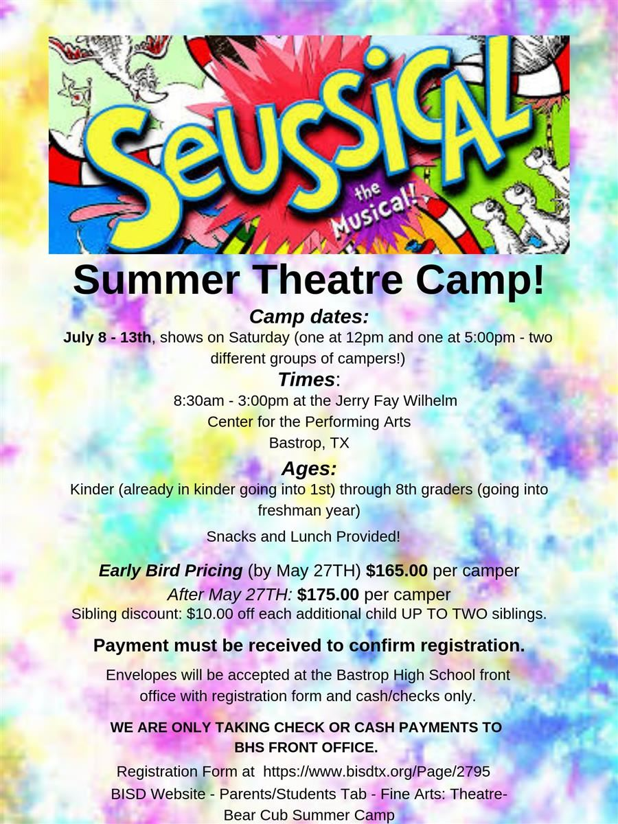 Suessical Sumer Camp flyer