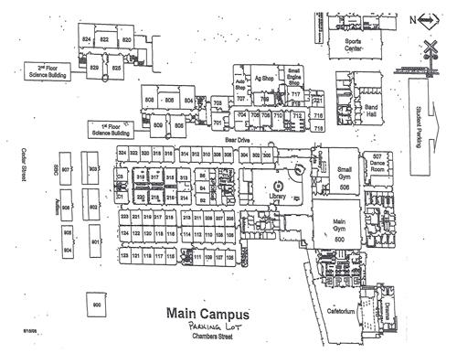 Black and white map of Bastrop High School