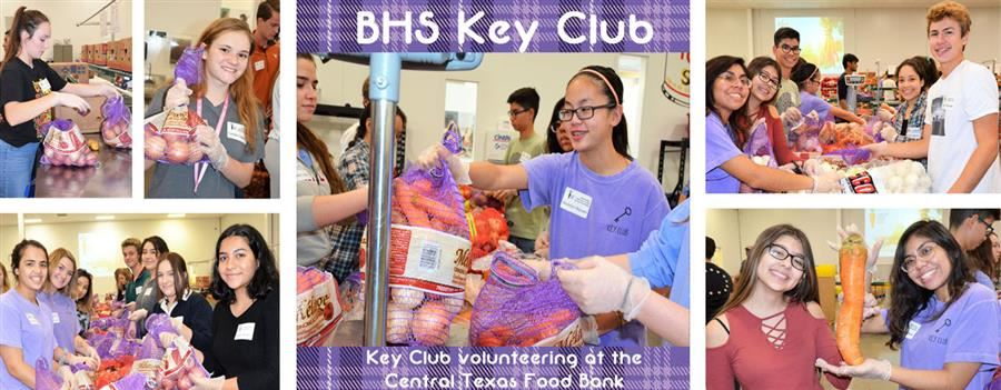 picture of key club volunteering at food bank
