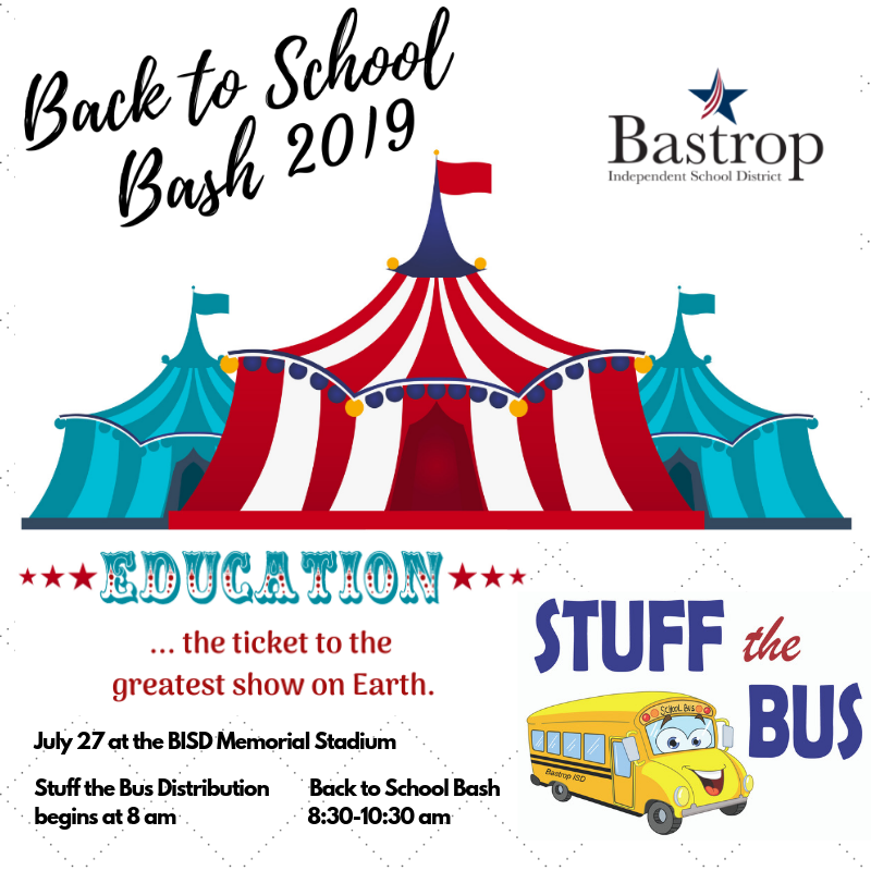 Back to School Bash and Stuff the Bus logos