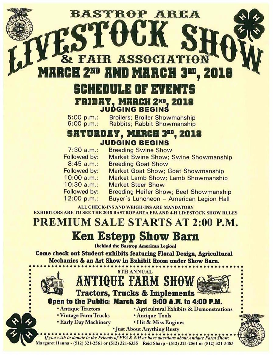 Poster advertising Bastrop Annual Livestock Show