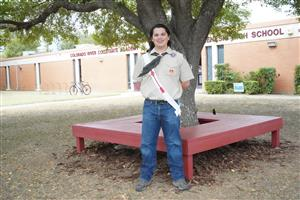 CRCA student with bench