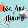 We Are Hiring with a school clip art background