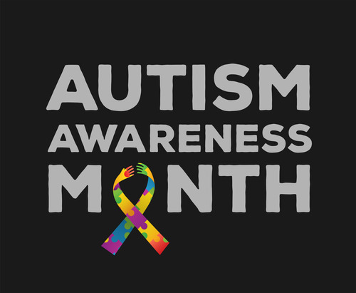 Black background with a ribbon colored like autism logo