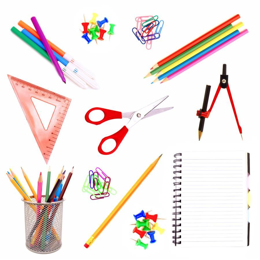 school supplies on a white background