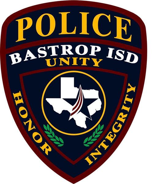 Bastrop ISD Police with district star logo over the state of Texas